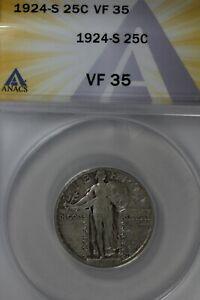 1924-S  .25  ANACS  VF 35   Standing Liberty Quarter, Liberty 25 Cents