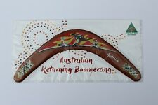 "Carded Australian Made 12"" decorated timber throwing boomerang - Sunset design"