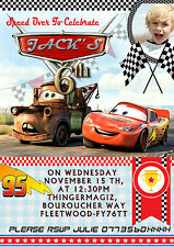 Personalised Birthday Party Invitations Disney carsmc queen, disney cars 8 carte