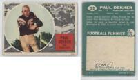 1960 Topps CFL #32 Paul Dekker Hamilton Tiger-Cats (CFL) Rookie Football Card