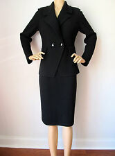 St John Knit suit black textured knit wool rayon size 12