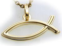 Anhänger Ychthis echt Gold 333 8kt  Gelbgold Top massiv Fisch Christentum Unisex