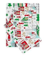 Christmas Village Holiday Festive Green & Red King Sheet Set (4 Piece Set)