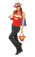 Womens Ladies Wonderwoman Top With Cape Fancy Dress Costume Outfit Superhero