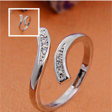 Fashion Jewelry 925 Sterling Silver Crystal Rings Open Adjustable Women Wedding