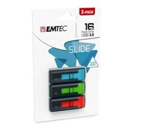 Emtec Slide Flashdrive 16GB 3 Pack USB 2.0