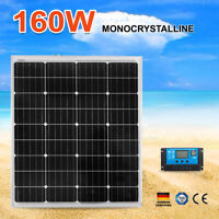 12V 160W MONO Solar Panel Kit Home Caravan Camping Power Charging Regulator