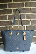 NWT COACH 57732I Turnlock Chain Embossed Signature Leather Shoulder Tote 27 Navy