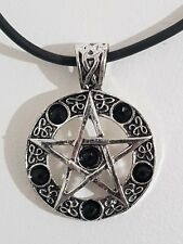 "Pentacle Pendant on Rubber Necklace 6 CZ stones. 18 Inch + 2"" inch extender"
