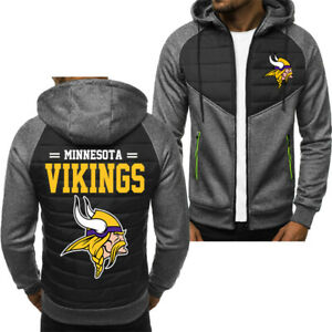Minnesota Vikings Men Fans Hoodie Sporty Jacket Zip up Coat Autumn Sweater Tops