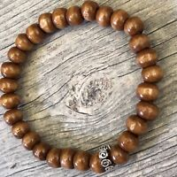Ethereal Energy Celtic Spiral Koa Wood Beaded Stretch Bracelet Mala Men Women