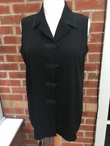 Ladies J. Taylor Size 16 Black Blouse Top Summer Holiday Excellent S1
