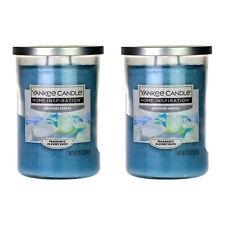 2 Yankee Candle Twin Wick Seashore Breeze Glass Jar Lid Scented Fragrance 538g