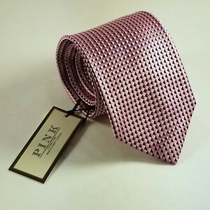 Thomas Pink Knightly Check Stunning Geometric Vibrant Pink Mens Silk Tie