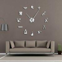Dental Hospital Silent Wall Clock Dentist Frameless Diy Acrylic 3D Mirror Watch