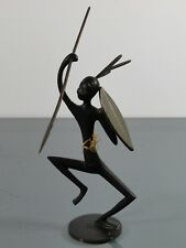 Figur,Werkstätten Hagenauer,Wien,afrikanischer Krieger,Messing,Art Deco,Austria