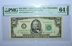 1950-C $50 FEDERAL RESERVE NOTE ✪ PMG 64-EPQ ✪ 2110-C PHILADELPHIA 726 ◢TRUSTED◣