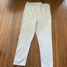 Bnwt H&M Maternity White Crop Over Bump Leggings Size Large