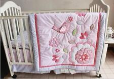 7PCS Girls Baby Bedding Set Bird Flower Nursery Quilt Bumper Sheet Crib Skirt