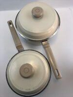 Vintage Club Supra Cast Aluminum 2 Qt and 3 Qt Non Stick Pots w/ Lids Ivory