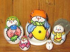 Russian nesting dolls tiny MATT  5 MINIATURE SNOWMAN & Balalaika Christmas Gift