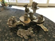 Quarry Critter Cows Clover, Casey, Chance, Cherry & Chip Second Nature w/stands