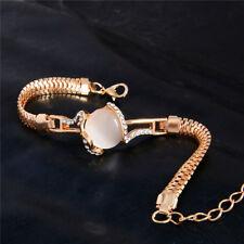 Women Chic Gold Plated Crystal Opal Cuff Bracelet Bangle Chain Wristband Jewelry