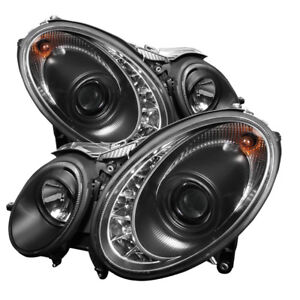Mercedes Benz 07-09 W211 E320 E350 E500 E63 DRL Black LED Projector Headlights
