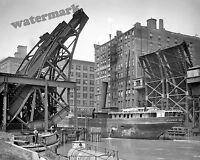 Historical Photograph of Chicago Bridge & Steamship Pueblo 1907  8x10