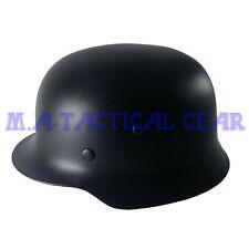 Repro WW2 WWII German Elit Stahlhelm M35 Steel Helmet Motorcycle Black Soldier