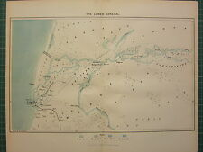 c1890 ANTIQUE MAP ~ THE LOWER SENEGAL AFICA ~ ST LOUIS DAKALIFA SEA DEPTHS