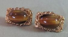 Mens Vintage TIGER EYE CUFFLINKS Costume Jewelry D79
