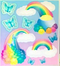 **RARE** PEARLY RAINBOW & BUTTERFLY Sandylion Stickers - 3 squares ~VINTAGE~