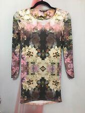 Ladies Topshop Petit Mirrored Floral Long Sleeve Dress 8