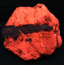 Fluorescent Calcite and Microcline Franklin NJ Orange PAC Man Cabinet Specimen