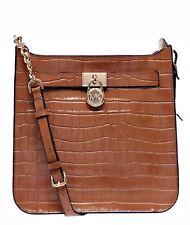 Michael Kors Bag Hamilton Md Embossed Leather Messenger Acorn New
