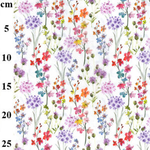 100% Cotton Poplin Garden Floral Print Fabric  Craft Sewing Material 150 cm wide