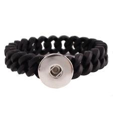 Click Button Armband Silikon Stretch schwarz 9711  - kompatibel 18mm Chunks