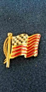 Stauer American Flag Pin with Diamond Stars Gold Toned