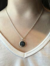 Round Dark Blue Druzy Pendant Necklace on Silver Chain - Fashion Jewelry
