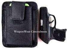 Black Leather Unisex Pistol Pack Belt Holster Concealment Concealed Carry #14 S