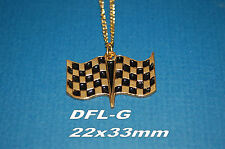 Checkered flag charm necklace Nascar World of Outlaws NHRA auto racing jewelry