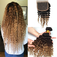 Real deep wave human hairs Ombre Hair Weave T1B/4/27 with 4*4 closure 4pc 28""