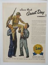 Original Print Ad 1943 LEE Jeans Great Day Comes GI In Peace or War