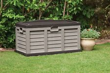 XL SIZE STARPLAST HUGE GARDEN STORAGE BOX CHEST SHED WATERPROOF BROWN SIT ON LID