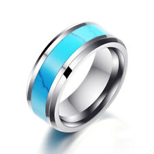 Men's Ring Tungsten steel 8mm Turquoise Fashion Jewelry Size 11