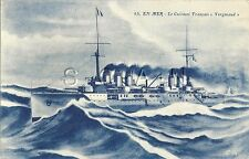 WWI Era French Artist Drawn PC- Navy Cruiser- Francais Vergniaud at Sea- 1906-17