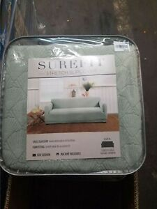 sure fit Simple Stretch CONCH SHELL One Piece sofa Slipcover SAGE GREEN NEW