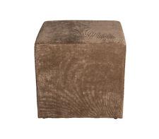 Amaris Elements | Fußhocker braun als Würfel, eckig, Samt - Hocker, 45 x 45 cm