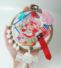 ❤️Handmade❤️ Embroidery Hoop Art-Wall Hanging- Strawberry Shortcake Retro Girl
